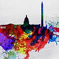 Washington Dc Watercolor Skyline 1 by Naxart Studio