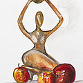 Woman In The African Style  With Red Apples by Irina Gromovaja