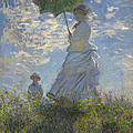 Woman With A Parasol Madame Monet And Her Son by Claude Monet