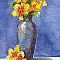 Yellow Flowers In Violet Vase by Linda L Martin