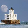 0186 Moon Over Milwaukee Breakwater Lighthouse by Steve Sturgill
