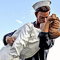 Closeup Nurse And Sailor Kissing Statue Unconditional Surrender by Sally Rockefeller