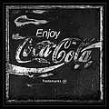 Coca Cola Sign Black And White by John Stephens