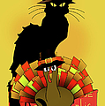 Thanksgiving Le Chat Noir With Turkey Pilgrim by Gravityx9   Designs