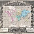 1852 Levasseur Map Of The World by Paul Fearn