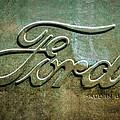 1912 Ford Hood Ornament - Emblem -0496bw by Jill Reger