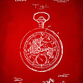 1916 Pocket Watch Patent Red by Nikki Marie Smith