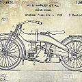 1924 Harley Davidson Motorcycle Patent  by Jon Neidert