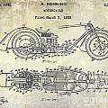 1939 Motorcycle Patent Drawing by Jon Neidert