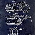 1950 Motorcycle Patent Drawing Blue by Jon Neidert