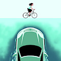 A Car Emerges From The Deep Toward A Bicyclist by Christoph Niemann