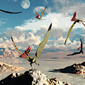 A Flock Of Thalassodromeus Pterosaurs by Mark Stevenson