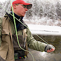 A Man Fly Fishing On The Cache La by Tom Bol