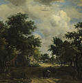 A Road Winding Past Cottages by Meindert Hobbema