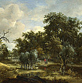 A Stream By A Wood by Meindert Hobbema