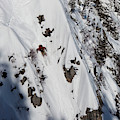 A Telemark Skier In A Narrow Chute by Patrick Orton