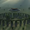 A Ufo & Its Alien Crew Visiting by Mark Stevenson