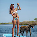 A Young Woman And Her Dog Sup by Corey Nolen