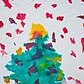 Abstract Kid's Painting Of Christmas Tree With Gifts by Aleksandar Mijatovic
