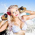 Active Sexy Summer Beach Babe With Skateboard by Jorgo Photography - Wall Art Gallery
