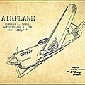 Airplane Patent Drawing From 1943-vintage by Aged Pixel