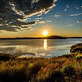 Alaskan Midnight Sun Over The Lake by Andrew Matwijec
