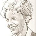 Amelia Earhart Drawing by Robert Crandall