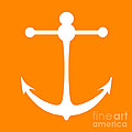 Anchor In Orange And White by Jackie Farnsworth