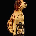 Antique Dog W Lantern by Mechala Matthews