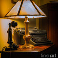 Antique Lamp Typewriter And Phone by Jerry Fornarotto