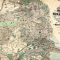 Antique Map Of City And County Of San Francisco by Celestial Images