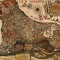 Antique Map Of Leo Belgicus 1630 by Mountain Dreams