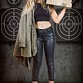 Army Pinup Girl At Rifle Range. Bullet Proof by Jorgo Photography - Wall Art Gallery