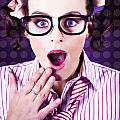 Attractive Young Nerd Girl With Surprised Look by Jorgo Photography - Wall Art Gallery