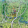 Austin Texas Cartoon Map by Kevin Middleton