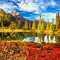 Autumn Comes To The Lake And Mountains by Garland Johnson