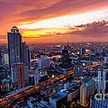 Bangkok City Skyline Sunset by Fototrav Print