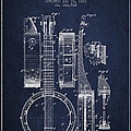 Banjo Patent Drawing From 1882 - Blue by Aged Pixel