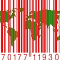 Bar Code With The World Map by Victor De Schwanberg