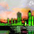 Barcelona Spain Skyline Watercolor by Marvin Blaine