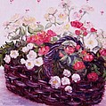 Basket Of Baby Roses by Mimi Saint DAgneaux