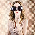 Beautiful Surprised Girl Wearing Big Sunglasses by Jorgo Photography - Wall Art Gallery