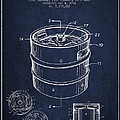 Beer Keg Patent Drawing - Green by Aged Pixel