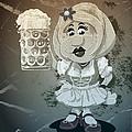 Beer Stein Dirndl Oktoberfest Cartoon Woman Grunge Monochrome by Frank Ramspott