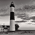 Big Sable Point Lighthouse In Black And White by Sebastian Musial
