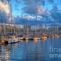 Boats In The Harbor Of Barcelona by Michal Bednarek