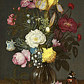 Bouquet Of Flowers In A Glass Vase by Ambrosius Bosschaert the Elder