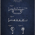 Bugle Call Instrument Patent Drawing From 1939 - Navy Blue by Aged Pixel