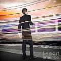 Business Man At Train Station Railway Platform by Jorgo Photography - Wall Art Gallery