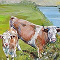 Cow And Calf by Mike Jory